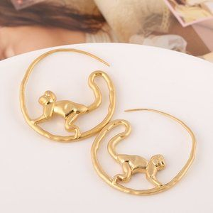 Tory Burch Matte Gold Long-Tailed Monkey Earrings